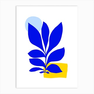 Matisse Inspired 1 Blue And Yellow Art Print