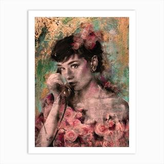 Audrey Hepburn Rose Gold Art Print