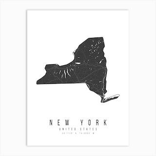 New York Mono Black And White Modern Minimal Street Map Art Print