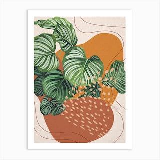 Abstract Shapes Calathea Orbifolia Plant 2 Art Print