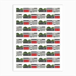 Modernist Fire Station Repeat Art Print