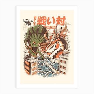 Brocco Vs Ramen Kaijus Art Print