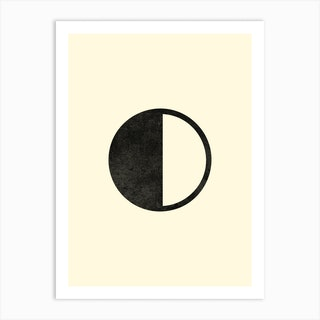 Minimal Quarter Moon Phase In Beige Art Print