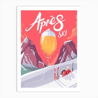 Apes Ski Art Print