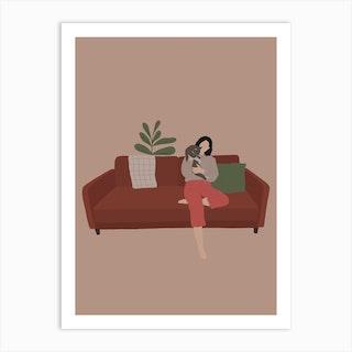 Couch Cat Art Print