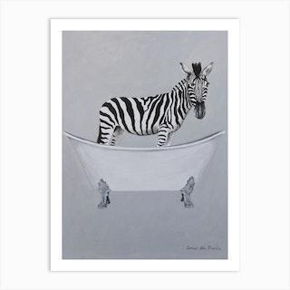 Zebra In Bathtub Art Print