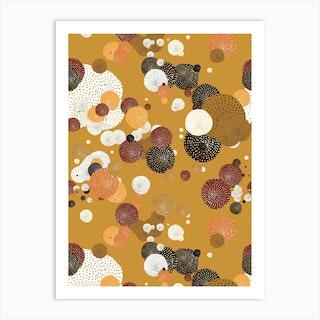 Oriental Circle Textures Mustard 2 Art Print