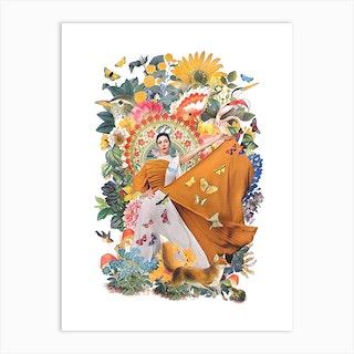 Goddess Of Nature   Collage Art Print