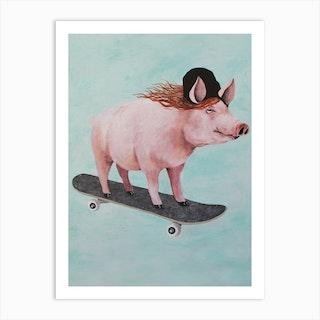 Pig Skateboarding Art Print