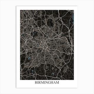 Birmingham Black Blue Art Print