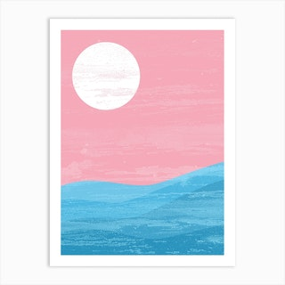 Sun And Waves Trans Pride Art Print