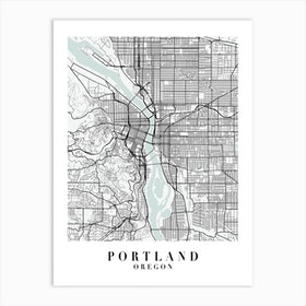 Portland Oregon Street Map Minimal Color Art Print