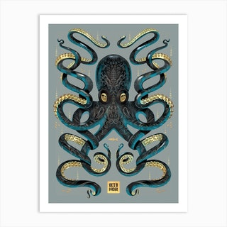 Octopus Black And Gold Art Print