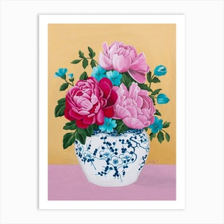 Chinoiserie Vase And Peony Art Print