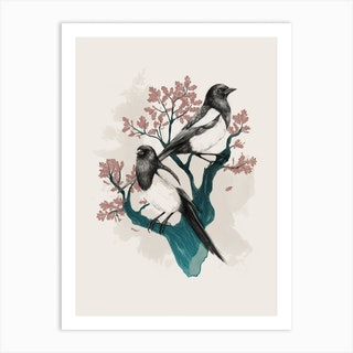 Magpies On Oak Art Print