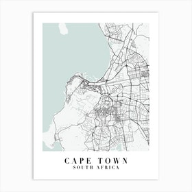 Cape Town South Africa Street Map Minimal Color Art Print