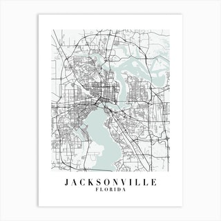 Jacksonville Florida Street Map Minimal Color Art Print