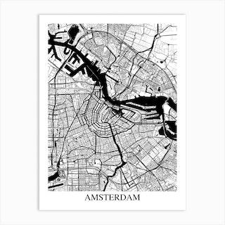Amsterdam White Black Art Print