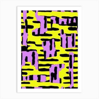 Yellow Pink And Black Art Print
