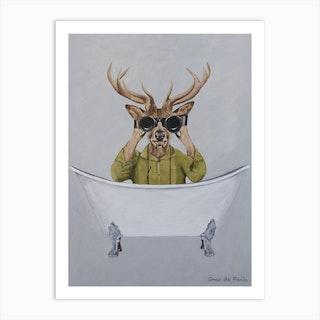 Deer In Bathtub Art Print
