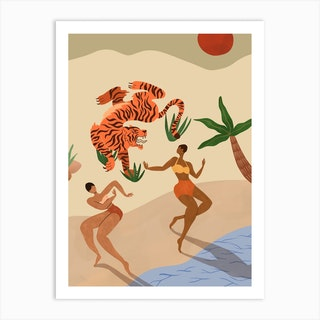 Dancing With Tiger Art Print
