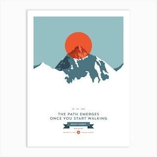 Mountains Illustrated Mount Everest Orange Circle Art Print