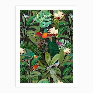 Tropical Jungle Birds Art Print