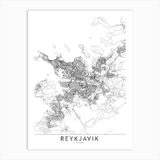 Reykjavik White Map Art Print