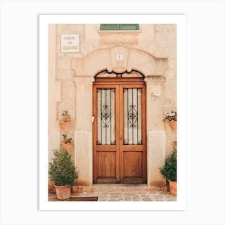 Beautiful Door In Valldemossa On Mallorca Island In Spain Art Print