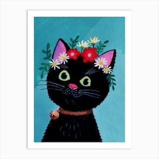Black Cat With Floral Crown Art Print