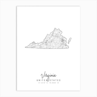 Virginia Minimal Street Map Art Print