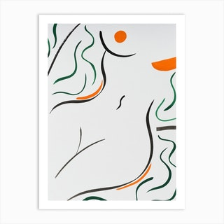 Goddess In Green And Orange Art Print
