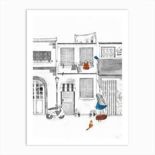 Wait For Me, Blue Beanie! 02 Art Print