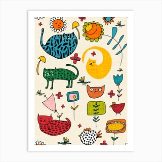 Spring Cat Beige Art Print