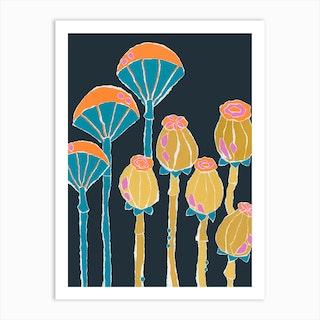 Umbrella Seed Pods Art Print