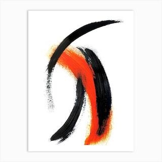 Sharp Black And Orange Abstract Art Print