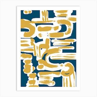 Teal And Ochre Brushstrokes Art Print