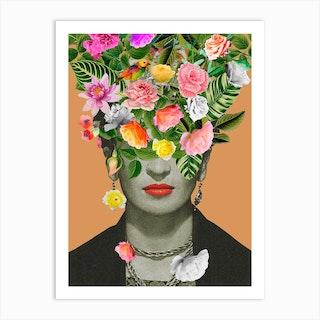 Frida Kahlo Floral Orange Art Print