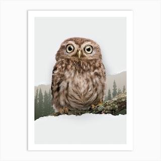 Owl Torn Paper Art Print