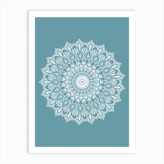 White Mandala Teal Art Print