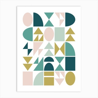 Geometry In Teal And Blush Art Print