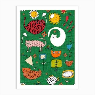 Spring Cat Green Art Print