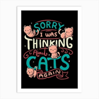 Thinking About Cats Art Print
