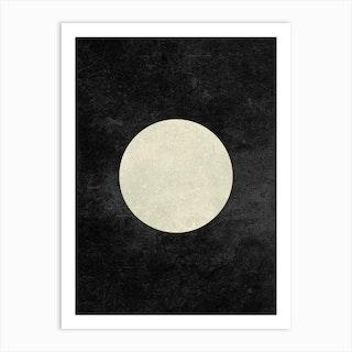 Minimal Full Moon Phase In Charcoal Art Print