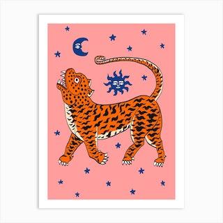 Tiger Temple Stars Pink Art Print