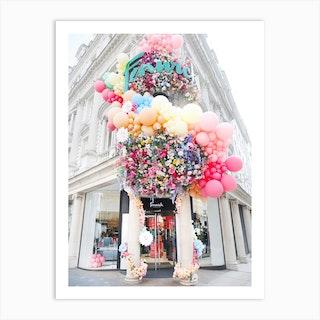 Rainbow Balloons London Art Print