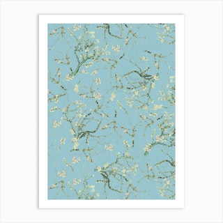 Vintage Van Gogh Cherry Blossoms Garden Art Print
