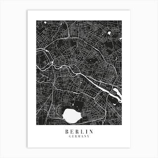 Berlin Germany Minimal Black Mono Street Map  Art Print