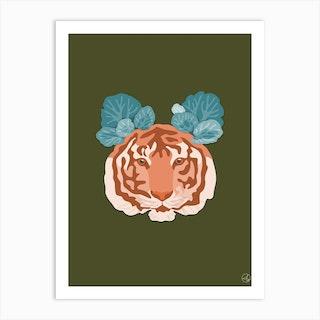 Tiger And Saxifraga On Olive Green Art Print