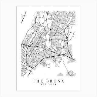 The Bronx New York Street Map Minimal Art Print